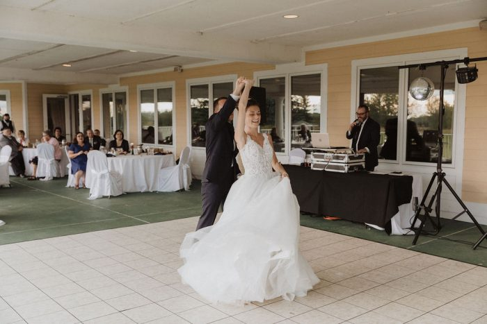 Groom Dancing with Bride at Beauty and the Beast Themed Wedding Reception