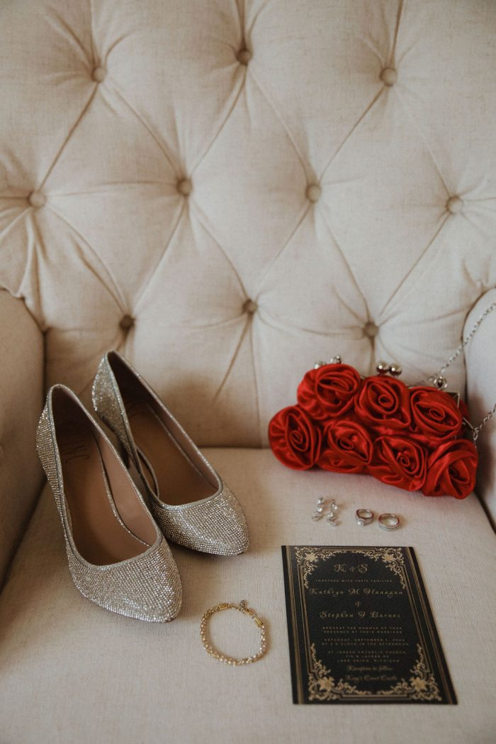 Silver High Heel Wedding Shoes and Red Roses