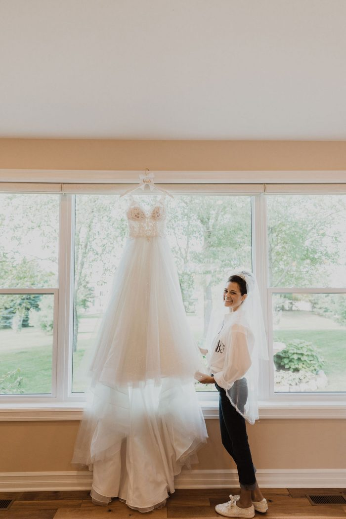 Real Bride Getting Ready for Wedding and Wearing Princess Ball Gown Called Taylor Lynette by Maggie Sottero