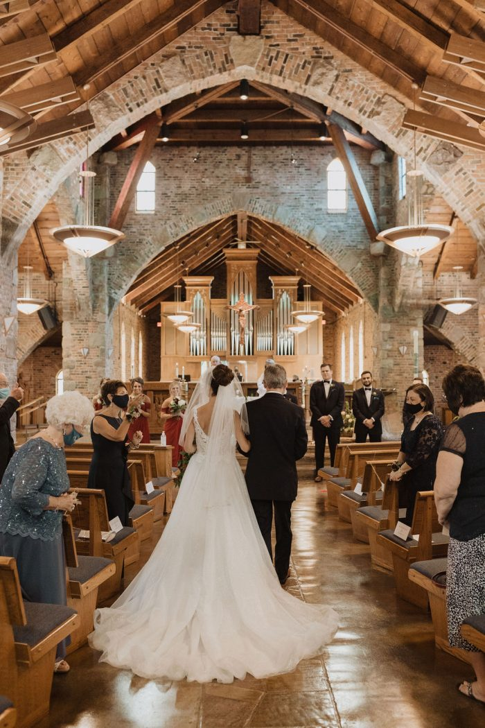 Father of the Bride Walking Bride Down the Aisle in Church