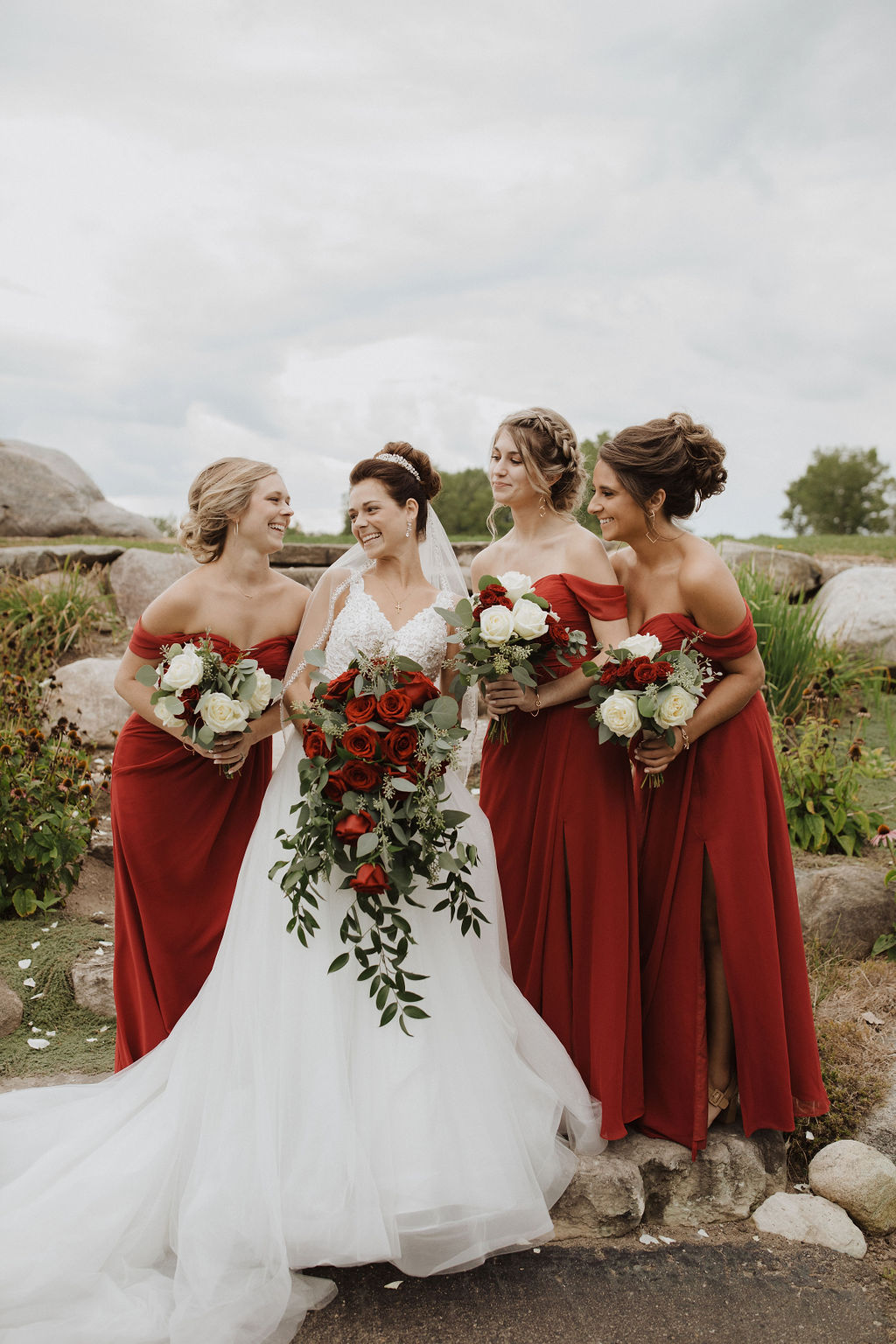 Real Bride Standing with Bridesmaids