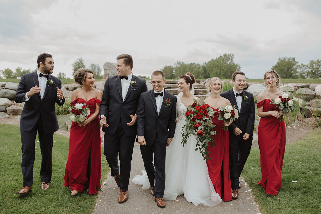 Groomsmen and Bridesmaids with Bride and Groom at Beauty and the Beast Themed Wedding