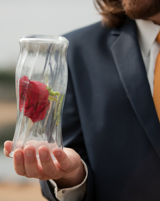Beauty and the Beast Rose in Vase
