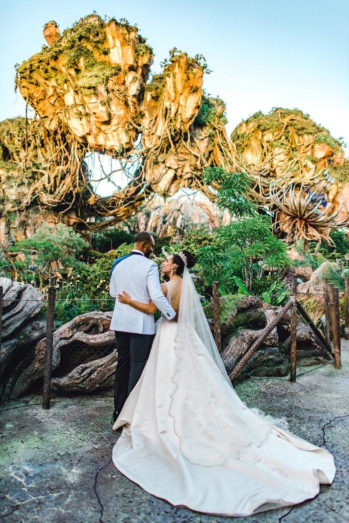 Groom with Bride in Pandora Wedding in Disneyworld