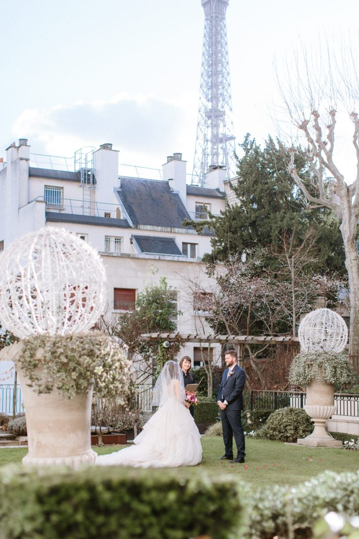 Real Bride and Groom Eloping by Eiffel Tower in Paris France in Maggie Sottero Wedding Dress