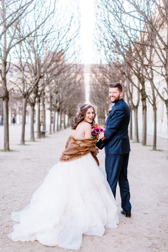 Groom with Real Bride Wearing Ball Gown Wedding Dress by Maggie Sottero at Destination Wedding in Paris France