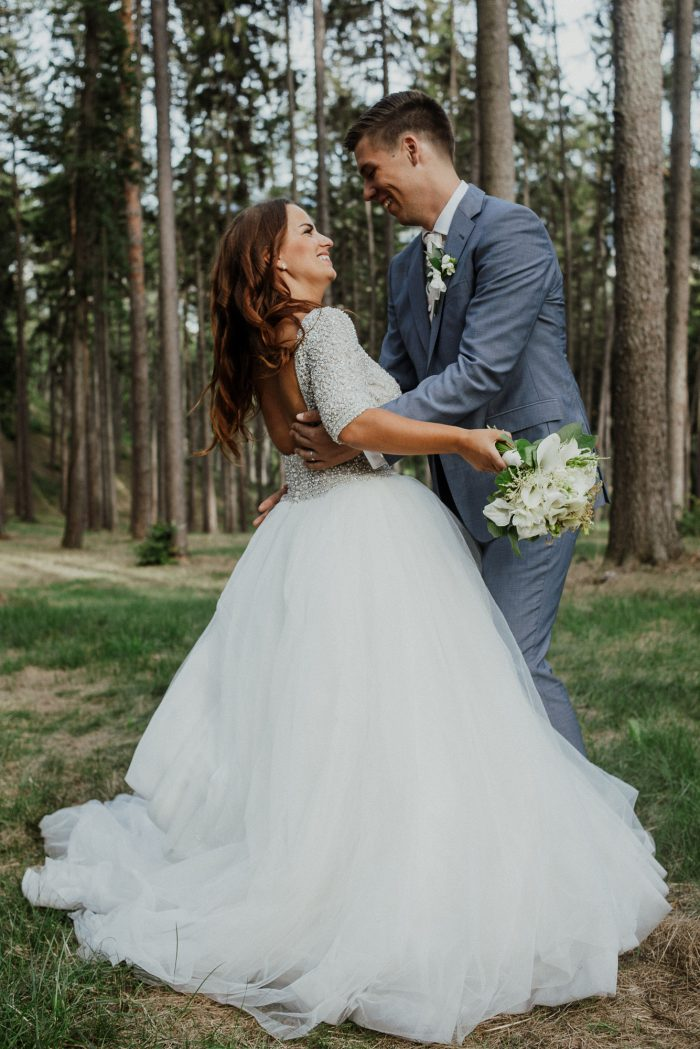 Groom with Real Bride in Forest in Slovakia for Destination Wedding