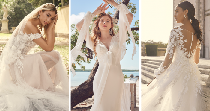 Collage of Brides Wearing International Wedding Dress Trends by Maggie Sottero for Fall 2021