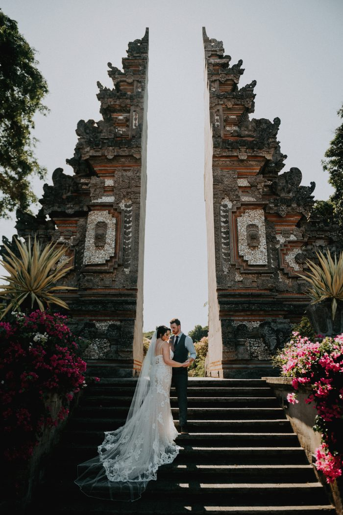 Groom with Real Bride in Front of Pura Luhur Batukaru in Bali Indonesia For Destination Wedding