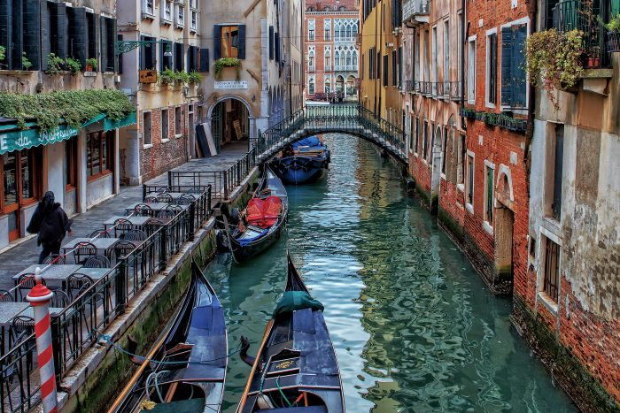 Street View of Canal and Gondolas in Venice Italy