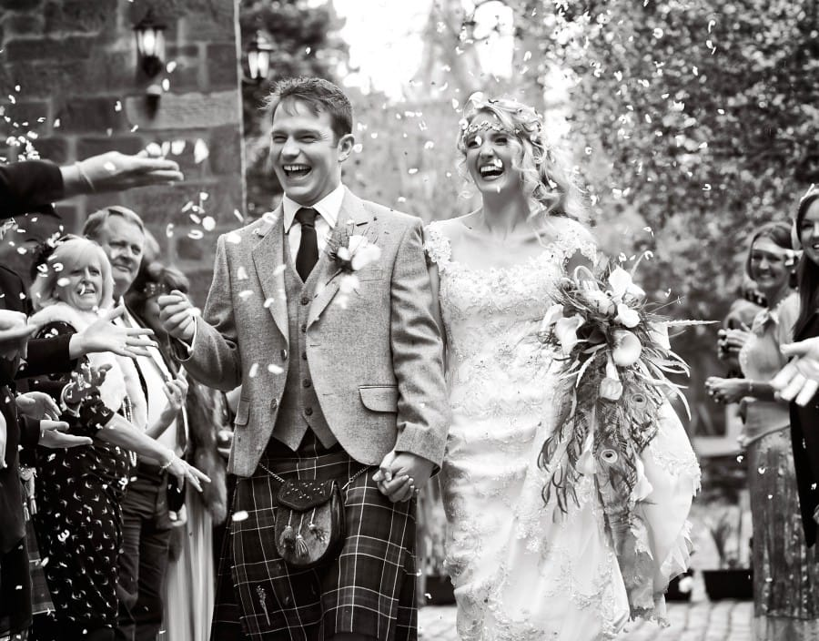 Groom Celebrating with Real Bride at Vintage Wedding in the UK