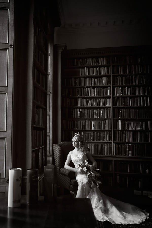 Real Bride in Library at Vintage Wedding