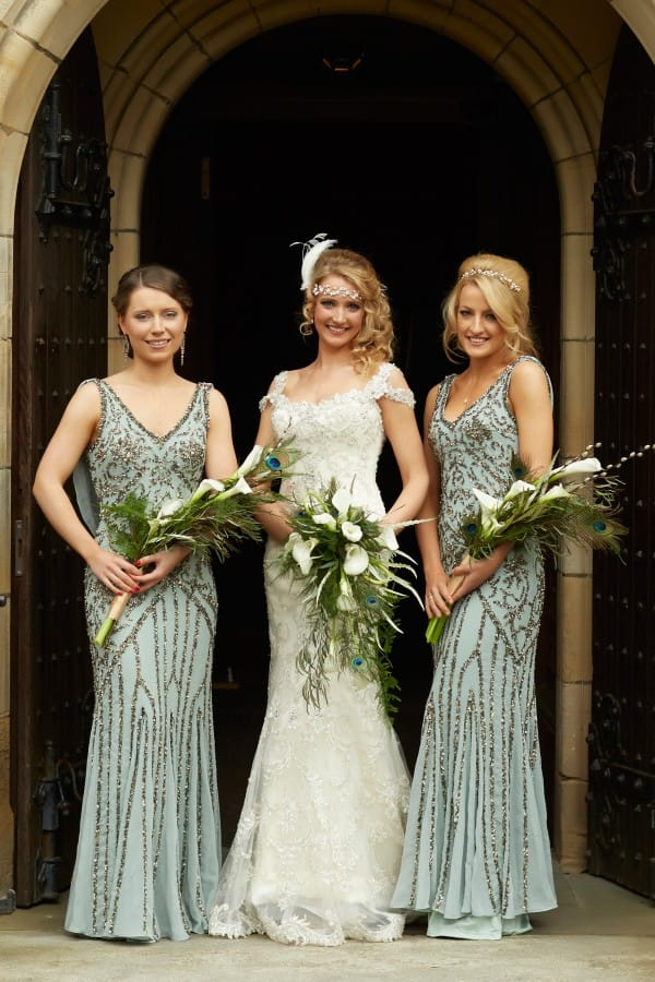 Real Bride with Bridesmaids at Real Wedding in the UK