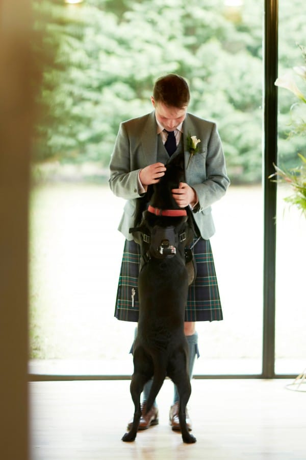 Real Groom Wearing Kilt at UK Wedding