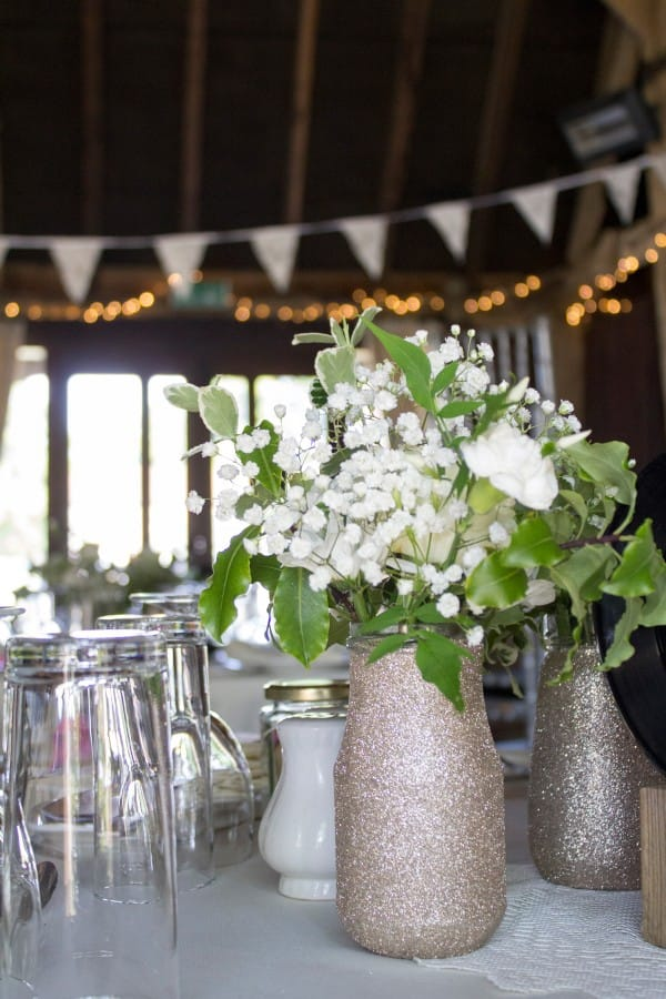 Flowers on Table at Barn Wedding in the UK