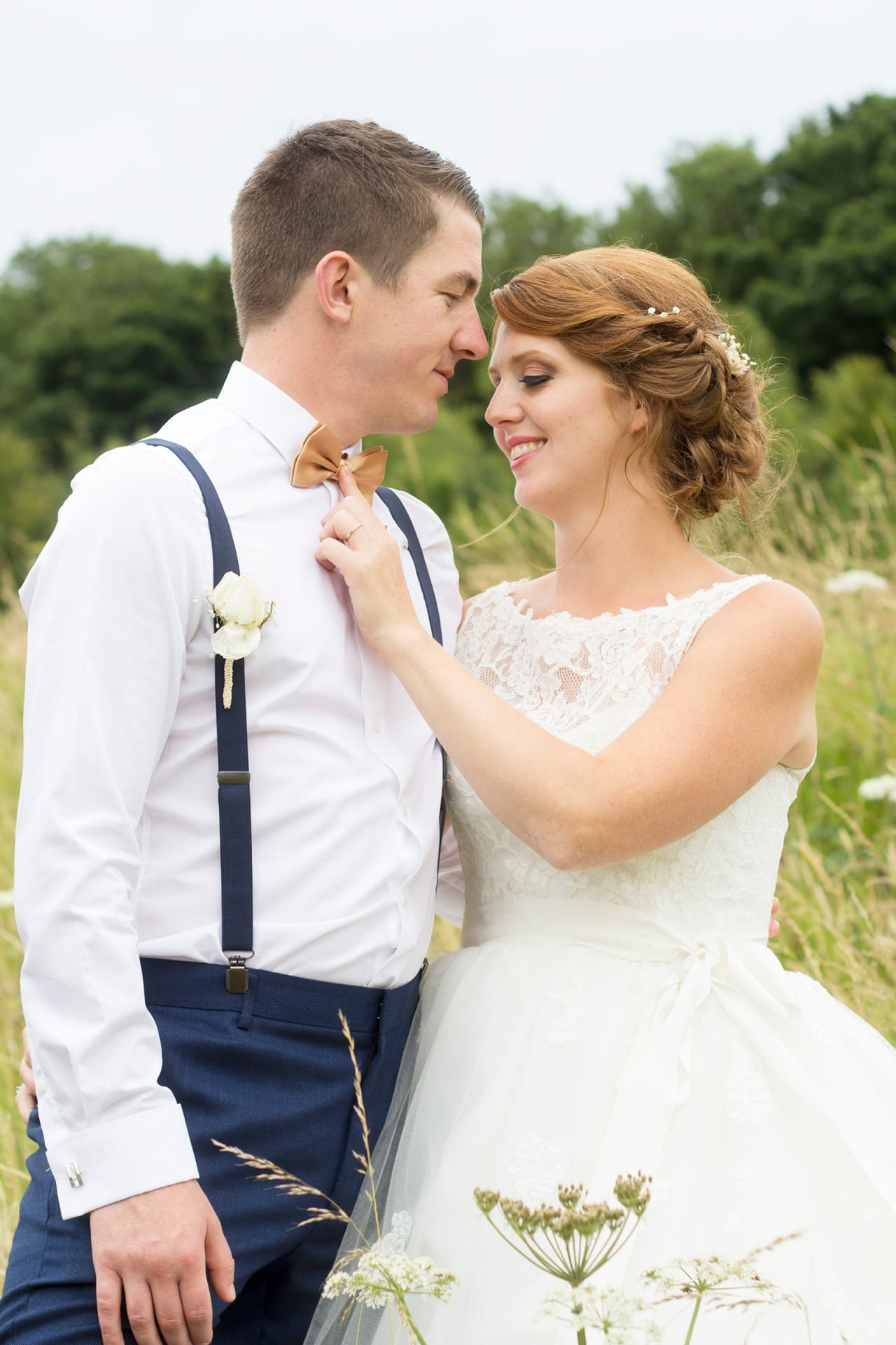 Groom with Real Bride Wearing Maggie Sottero Wedding Dress in the UK