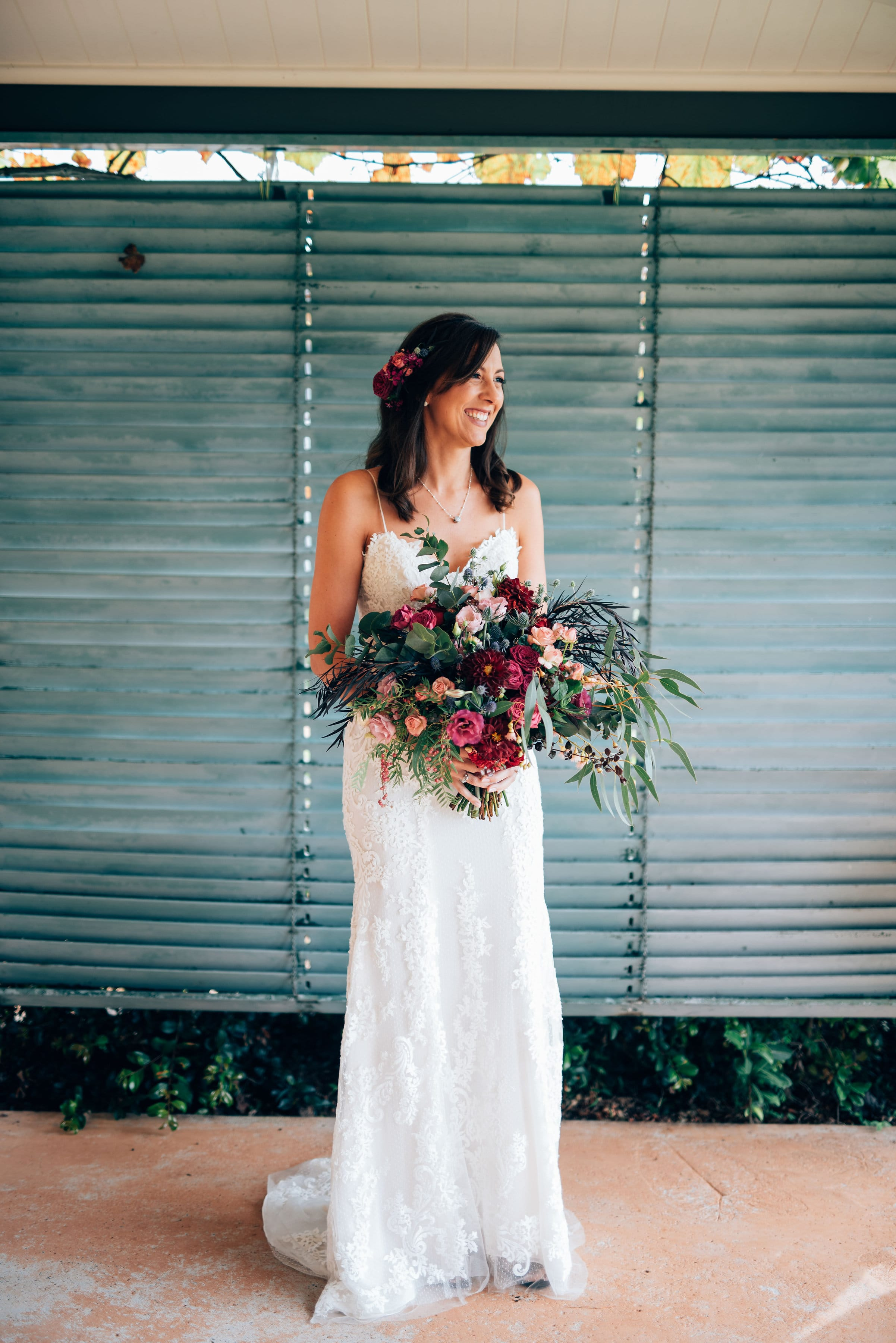Effortlessly sexy outdoor wedding Sarah and Philip - Bride is wearing Mattea by Sottero and Midgley