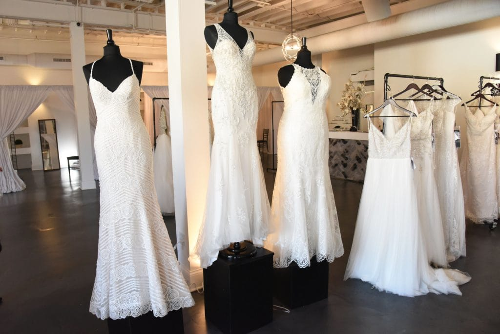 Maggie Sottero Wedding Dresses on Mannequins to Help Brides Find a Specific Wedding Dress Near Them