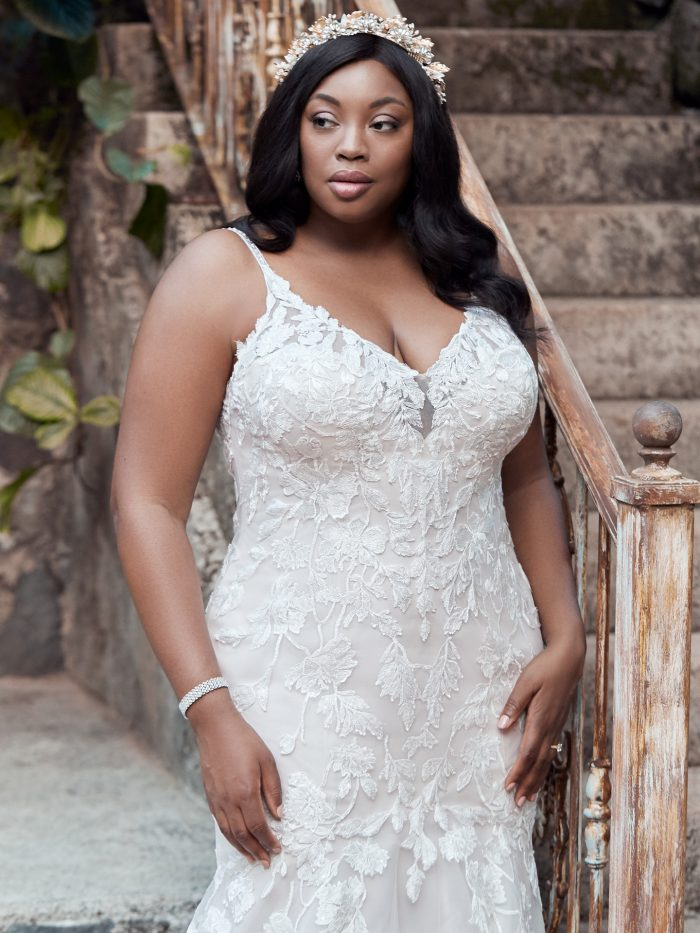 Curvy Bride Wearing Plus Size Boho Wedding Gown Called Giana Lynette by Maggie Sottero