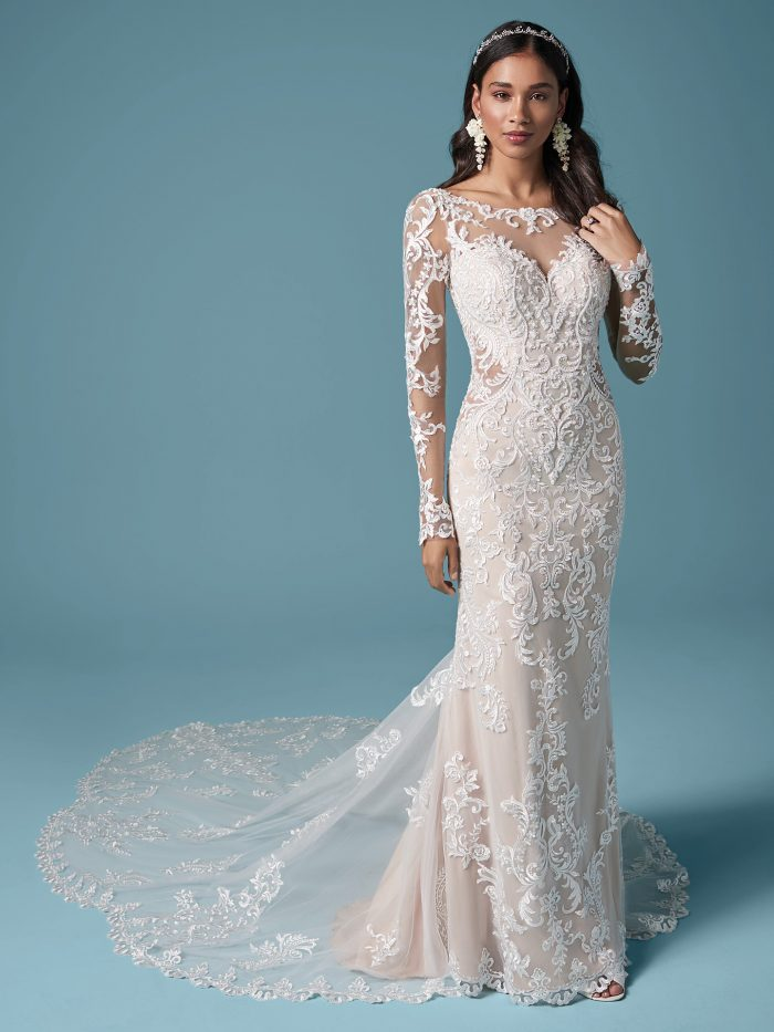 Illusion Lace Sleeve Sheath Bridal Dress Called Lydia Anne by Maggie Sottero