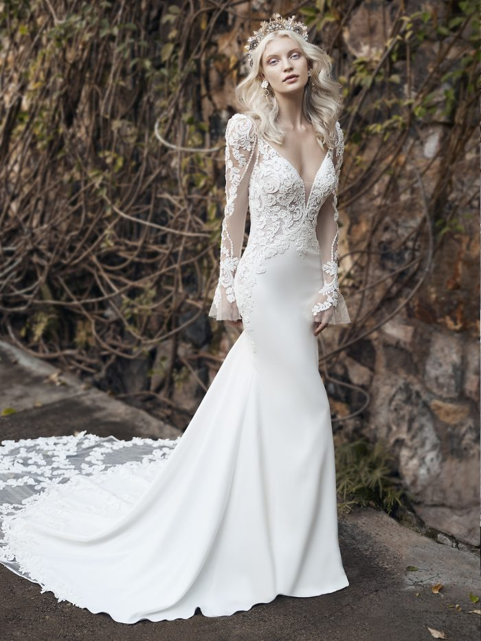Model Wearing Lace Puff Sleeve Wedding Dress Called Nikki by Maggie Sottero