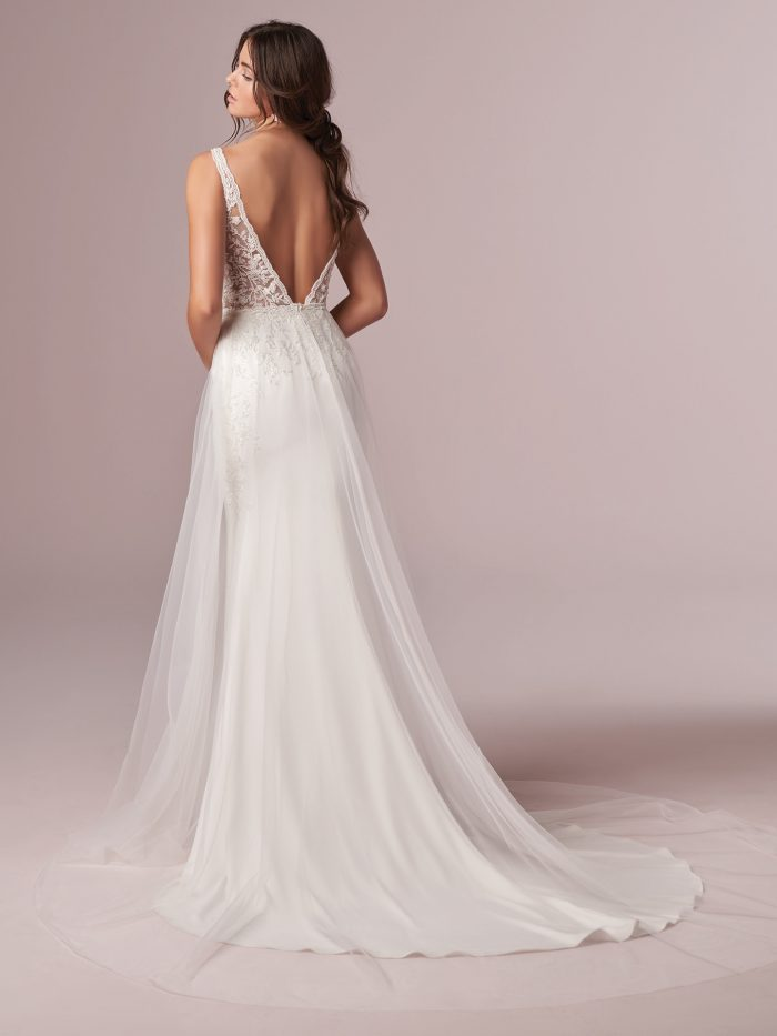Sexy V-back Sheath Wedding Dress with Sheer Overskirt Called Carmen by Rebecca Ingram