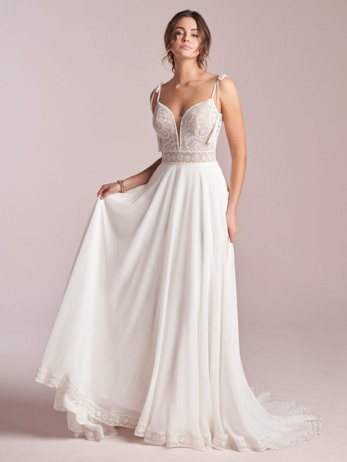 Bride Wearing Rustic Chiffon Wedding Gown Called Jolie by Rebecca Ingram