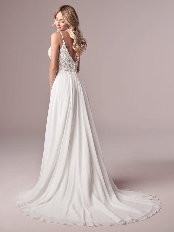 Model Wearing Chiffon A-line Beach Wedding Gown Called Lorraine by Rebecca Ingram