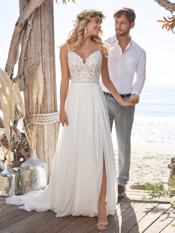 Model Wearing Chiffon A-line Beach Wedding Gown Called Lorraine by Rebecca Ingram