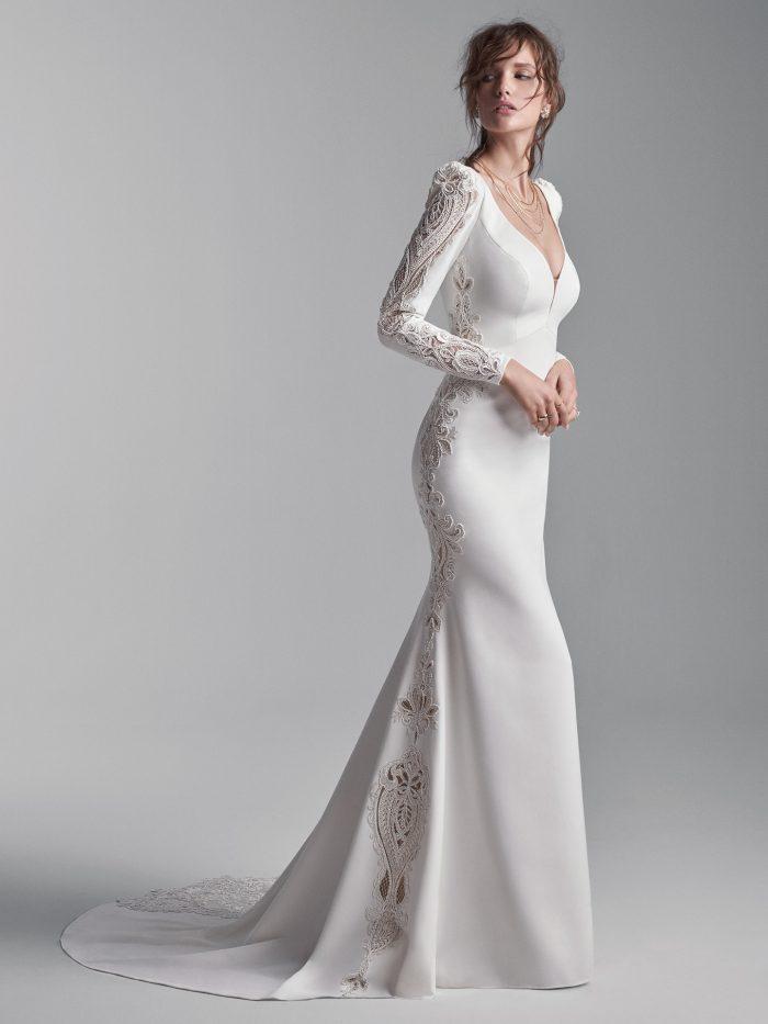 Model Wearing Long Puff Sleeve Vintage Wedding Gown