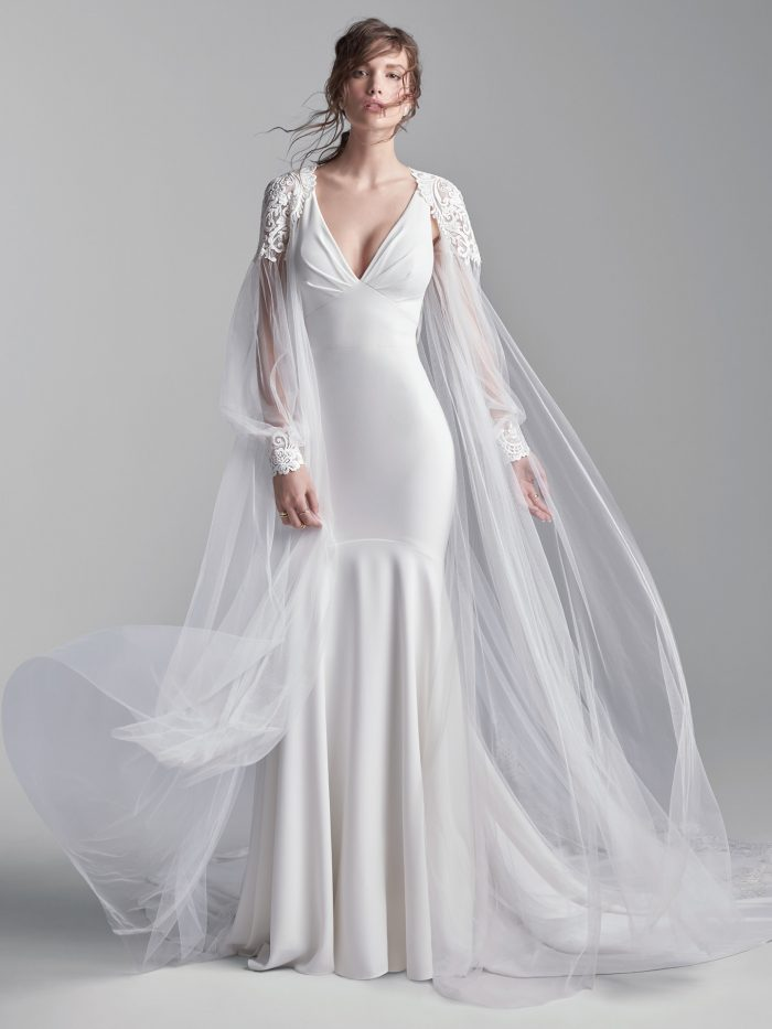 Model Wearing Simple Halter Back Bridal Dress Called Anthony by Sottero and Midgley with Tulle Cape