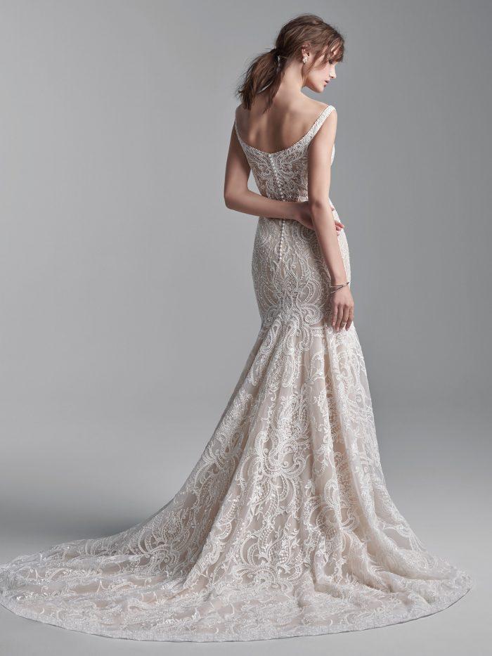 Model Wearing Beaded Lace Sheath Wedding Dress Called Elias by Sottero and Midgley
