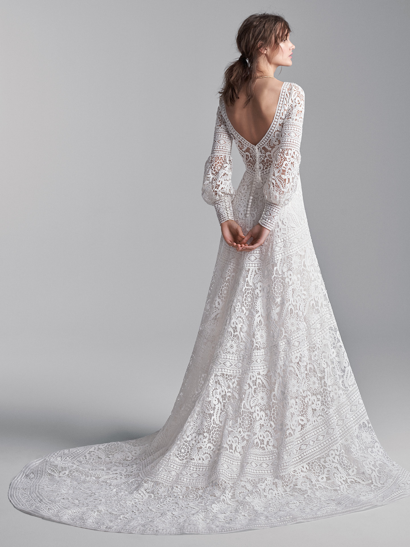 Model From Back Wearing Lace Bishop Sleeve A-line Wedding Dress Called Finley by Sottero and Midgley