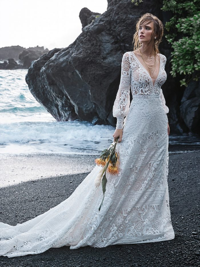 Bride on Beach Wearing Lace Bishop Sleeve A-line Wedding Dress Called Finley by Sottero and Midgley