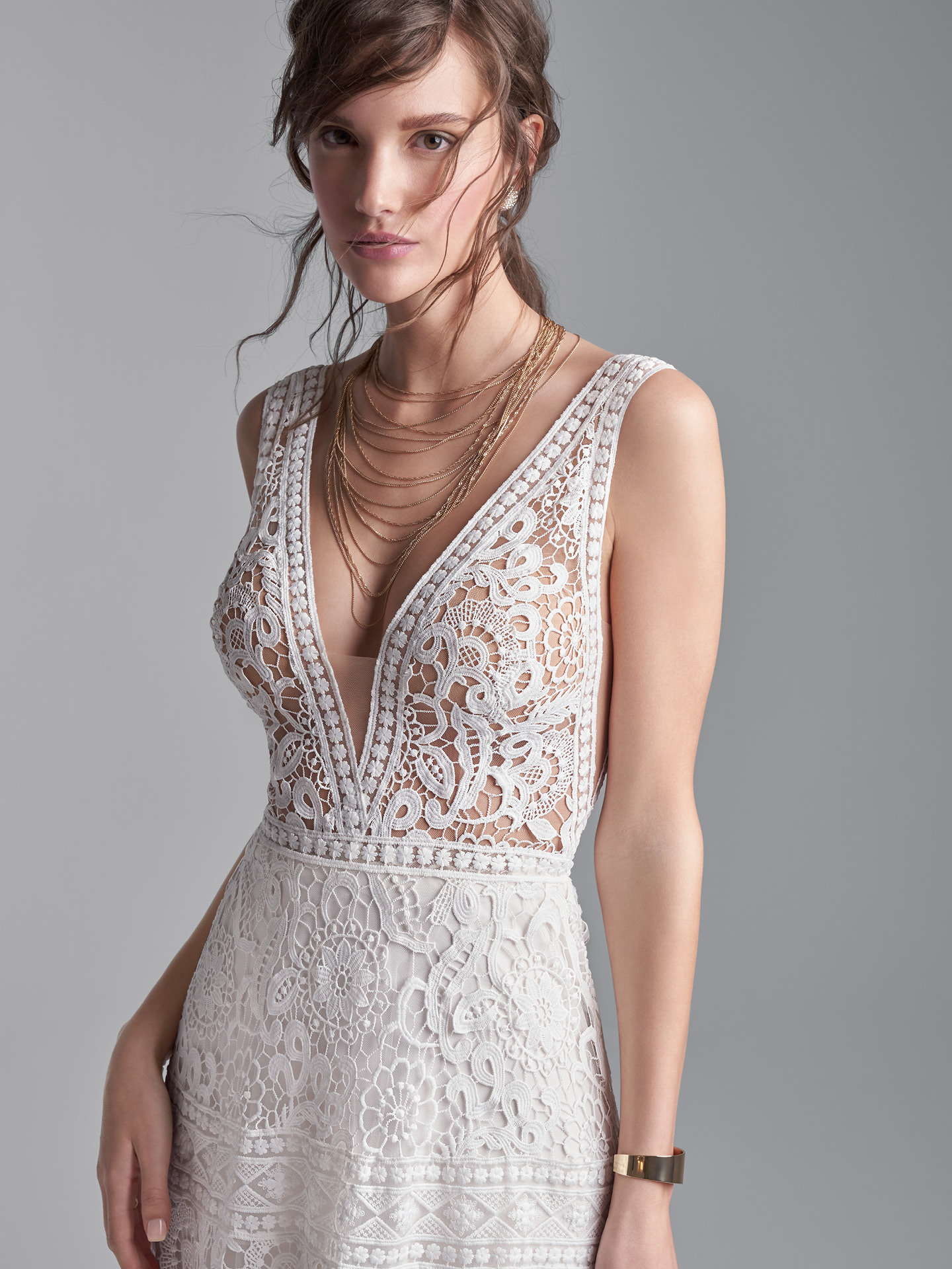 Model Wearing Boho Lace A-line Wedding Gown Called Finley Dawn by Sottero and Midgley