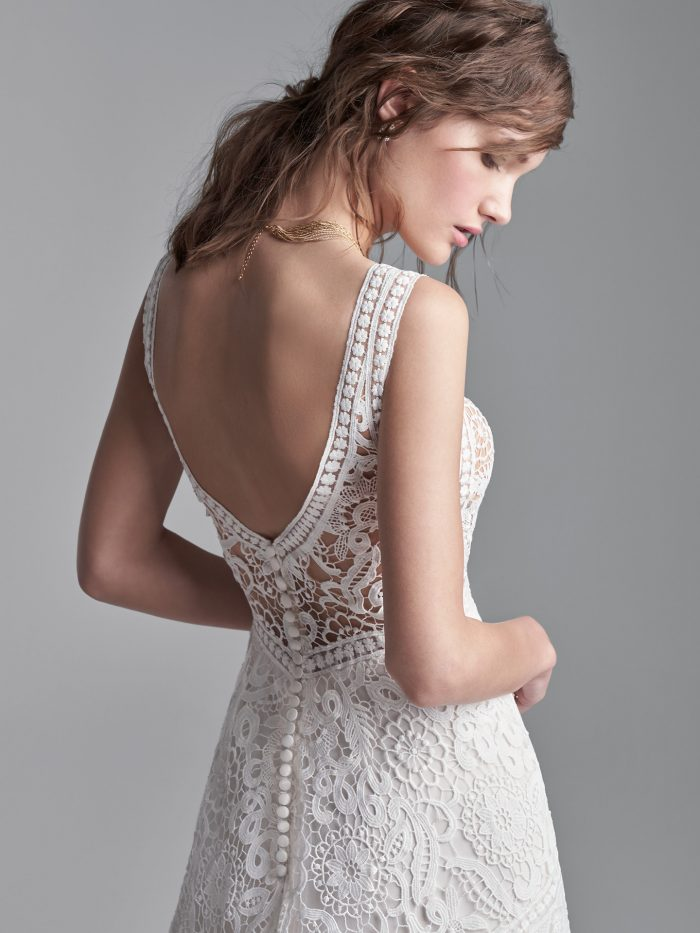 Model Wearing Sleeveless Boho A-line Wedding Gown Called Finley Dawn by Sottero and Midgley