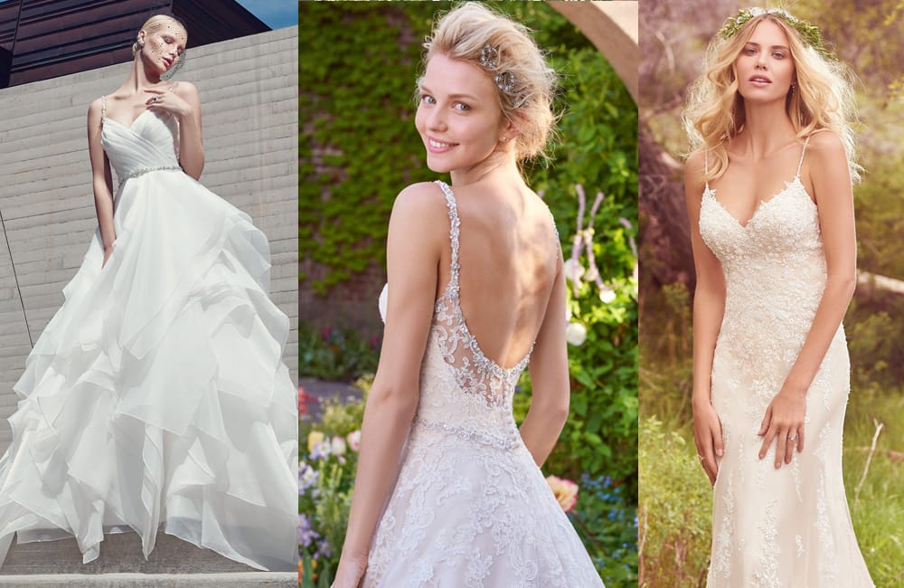 Gown Spotlights: Blaire, Allison, and Nola wedding dresses from Sottero and Midgley, Rebecca Ingram, and Maggie Sottero
