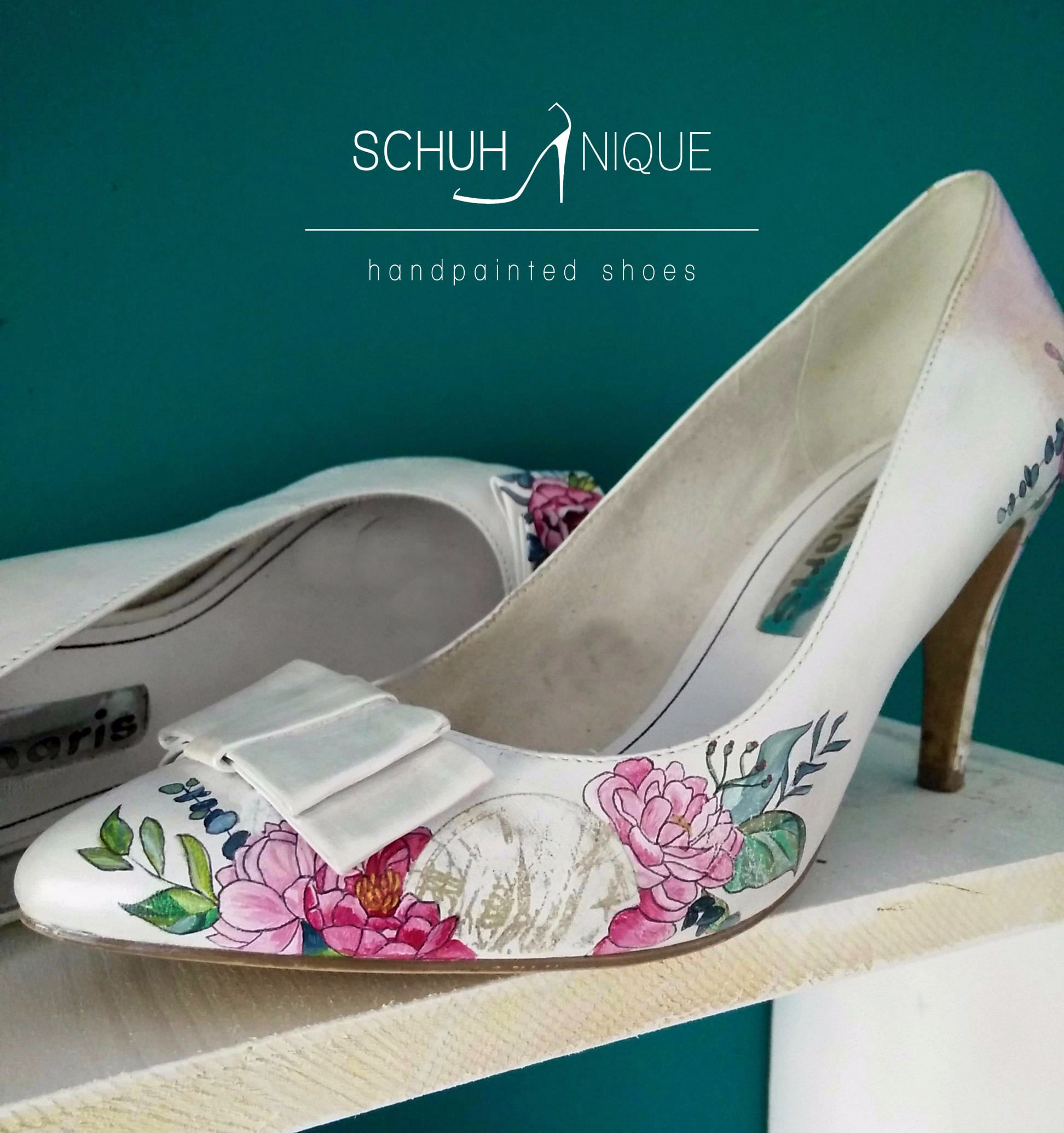 Wedding Dresses And Custom Handpainted Shoes Pairings - Shoes by Schunique