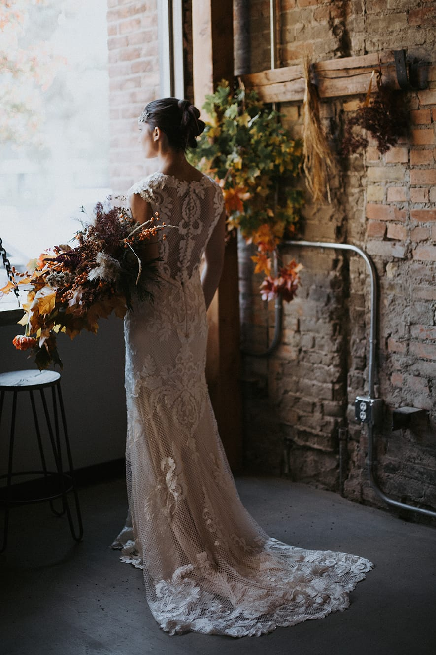 Industrial Fall Wedding - Styled Shoot Featuring Suzanne by Sottero and Midgley
