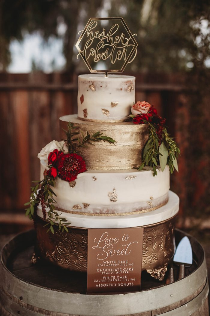 Three Tier Autumn Wedding Cake with Gold and Berry Accents