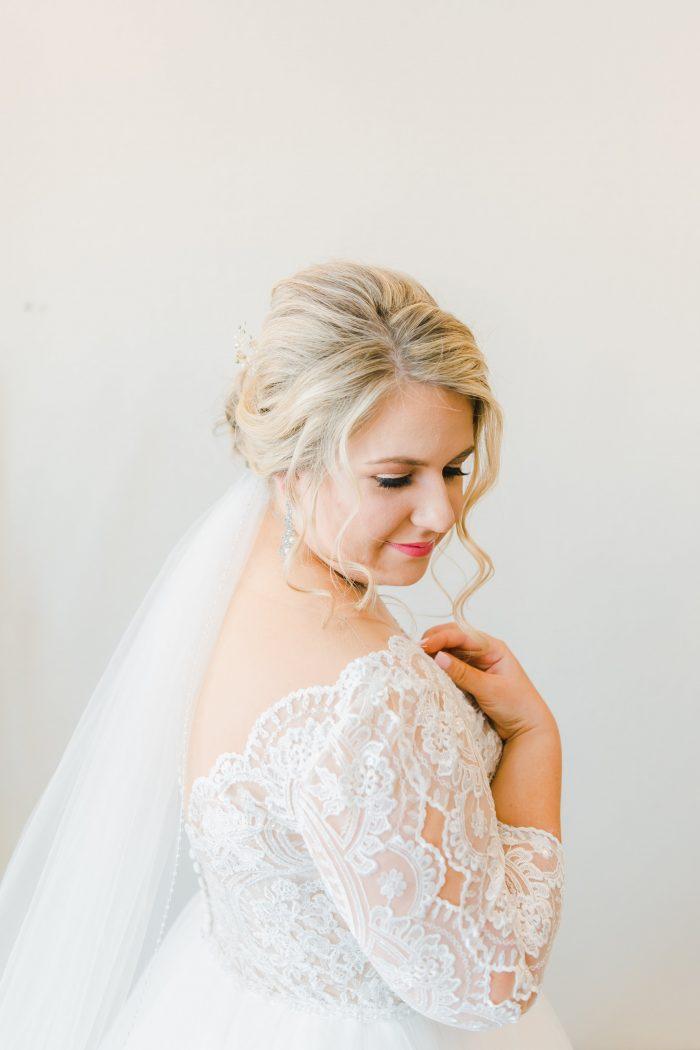 Bride Wearing Maggie Sottero Wedding Dress and Light Spring Wedding Makeup