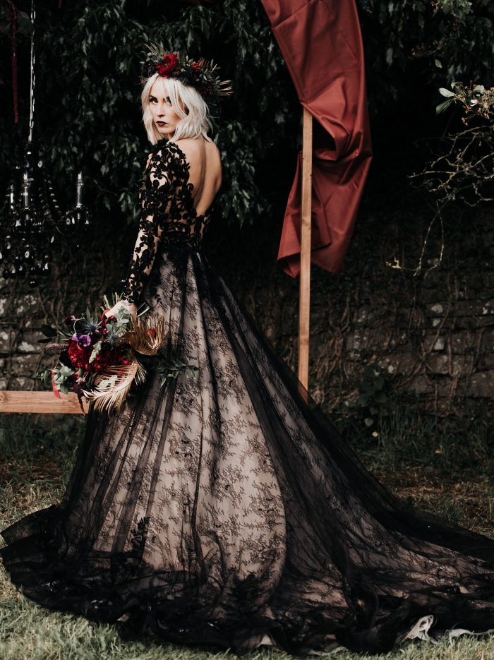 Bride Wearing Gothic Black Bridal Gown and Makeup