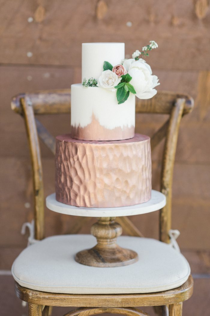 Three Tiered Metallic Fall Wedding Cake on Chair