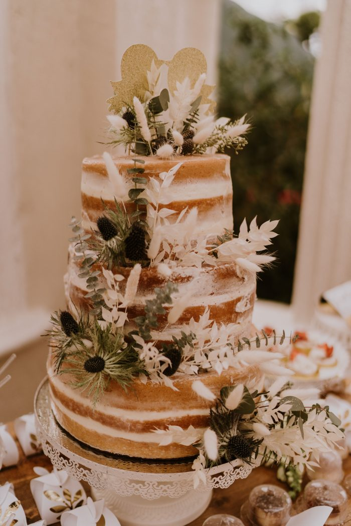 Naked Buttercream Boho Fall Wedding Cake with Greenery