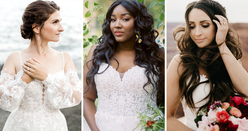 Collage of Brides Wearing Wedding Makeup Looks Inspired by Their Real Weddings
