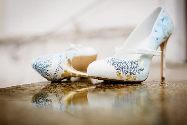 Wedding Dresses And Custom Handpainted Shoes Paired - Shoes by Schunique