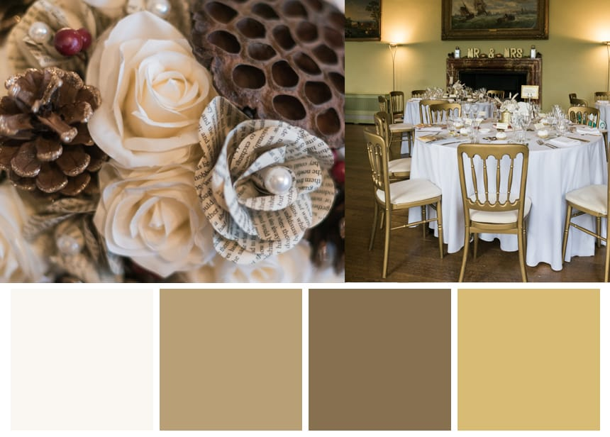 Nine Palettes for a Fall Wedding - Brown, Ivory, and Gold