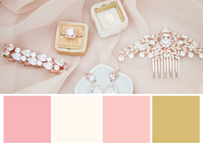 Nine Palettes for a Fall Wedding - Muted Pink and Gold