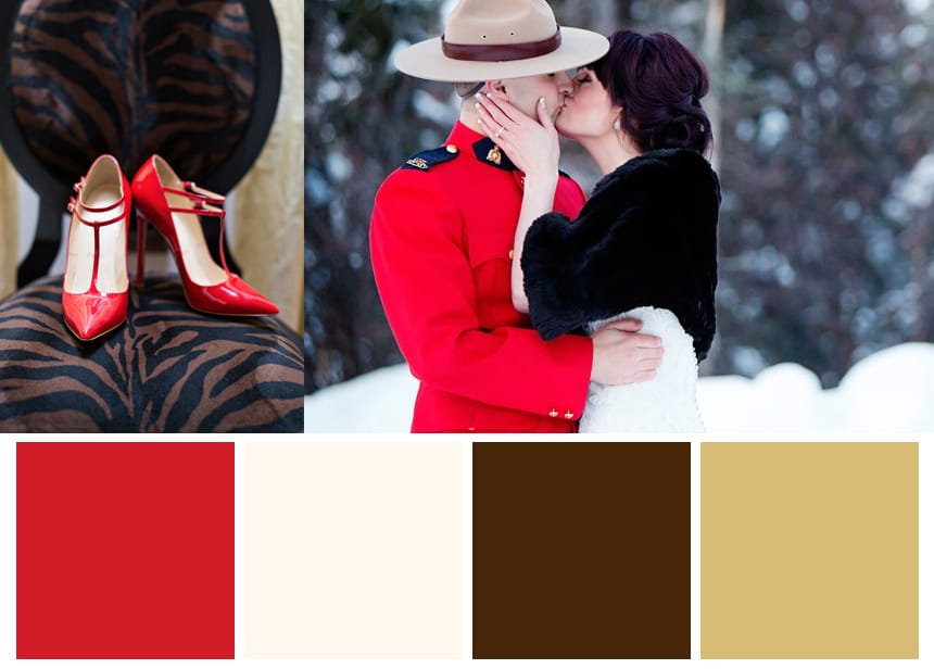 Nine Color Palettes for a Fall Wedding - Carmine Red and Dark Brown