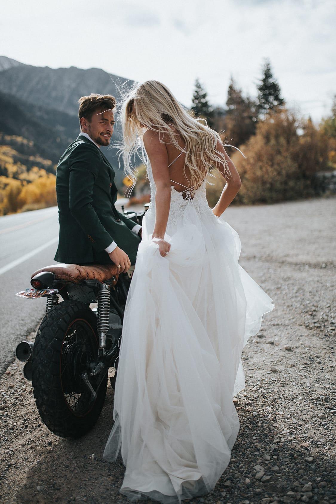 GQ-worthy Groom, Motorbike and Beautiful Bride In Marjorie